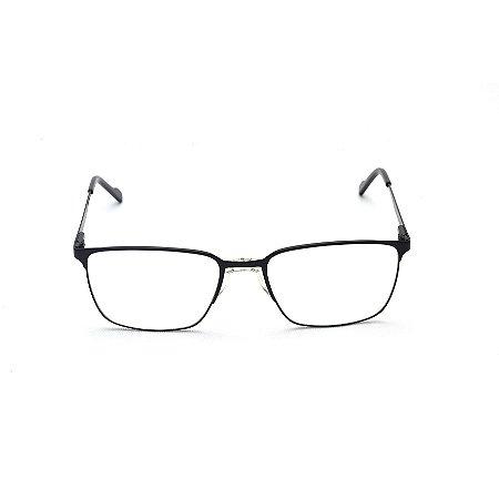 Armação para Óculos de Grau Retangular Metal Preto Ponte Anatômica Afrikan