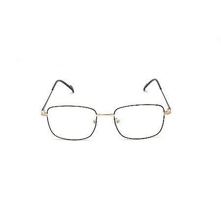 Armação para Óculos de Grau Clip-on Retangular Metal Preto e Dourado Afrikan