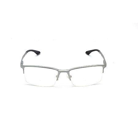 Armação para Óculos de Grau Retangular Curvado Prata Fio de Nylon