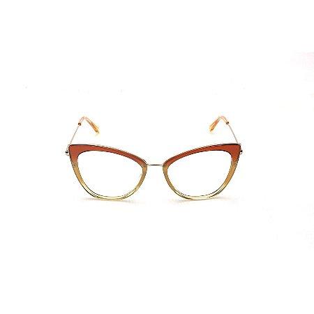 Armação para Óculos de Grau Gatinho Acrílico Caramelo Degradê Modelo Renata Vasconcelos