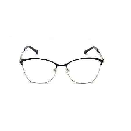 Armação para Óculos de Grau Gatinho Preto e Prata Afrikan