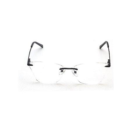 Armação para Óculos de Grau Três Peças com Haste Preta