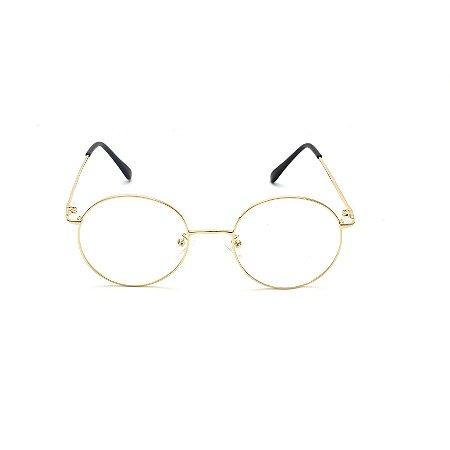 Armação para Óculos de Grau Redondo Metal Dourado Afrikan