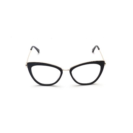 Armação para Óculos de Grau Afrikan Acetato Preto com detalhe em Prata