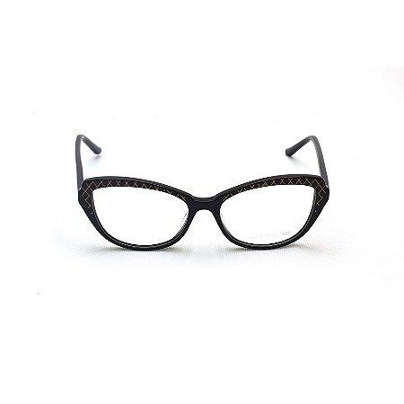Armação para Óculos de Grau Feminino Gatinho Preto com detalhes Dourado