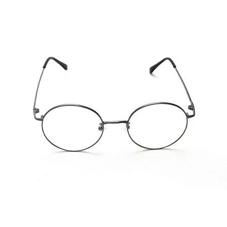 Armação para Óculos de Grau Redondo Metal Cinza Modelo Harry Potter