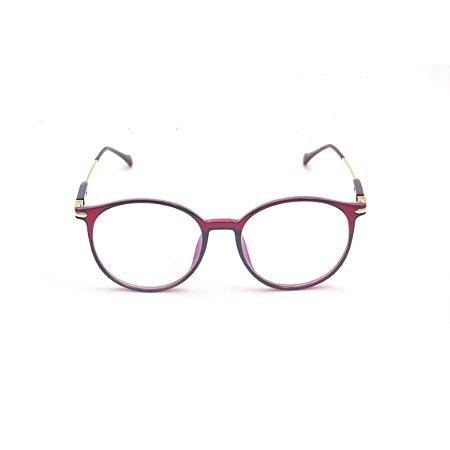 Armação para Óculos de Grau Feminino Redondo Vermelho Escuro Afrikan