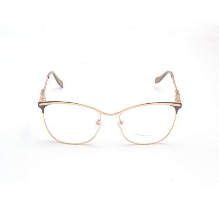 Armação para Óculos de Grau Gatinho em Metal Nude e Dourado