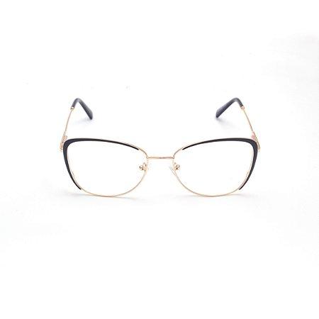 Armação para Óculos de Grau Feminino Metal Preto Afrikan