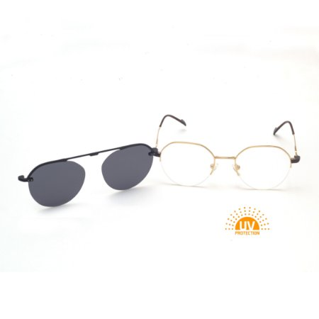 Óculos Clip-On Redondo Fio de Nylon Dourado com Lente Preta