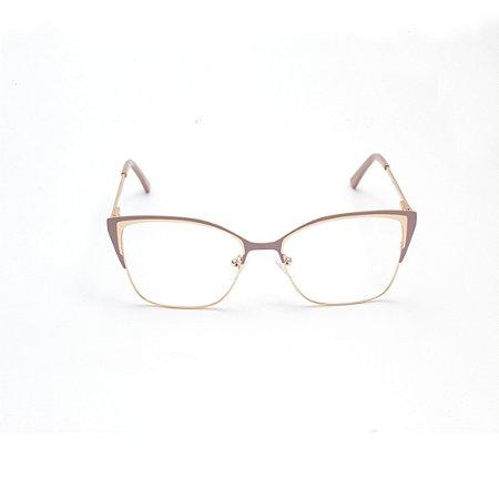Armação para Óculos de Grau Quadrada Nude e Dourada Afrikan