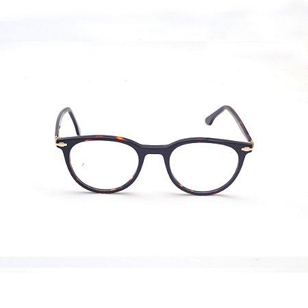 Armação para Óculos de Grau Redondo Estampado Marrom