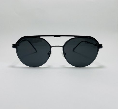 Óculos Clip-On Redondo Fio de Nylon Chumbo com Lente Preta