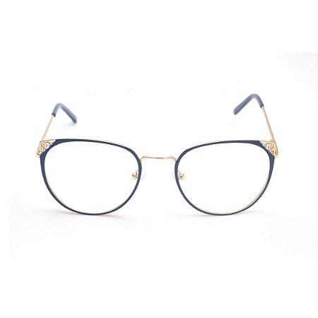 Armação para Óculos de Grau Gatinho Metal Azul Escuro Afrikan