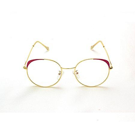 Armação para Óculos de Grau Redondo com detalhe em Vermelho Juliana