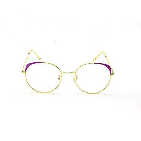 Armação para Óculos de Grau Redondo com Detalhe Roxo Juliana