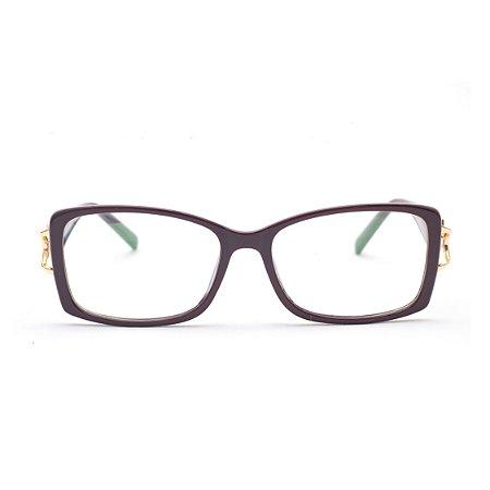 Armação para Óculos de Grau Feminino Retangular Vermelho Escuro