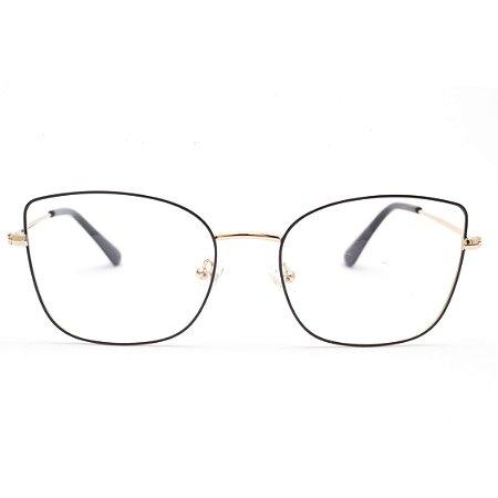 Armação para Óculos de Grau Feminino Retangular Metal Preto