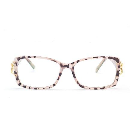 Armação para Óculos de Grau Feminino Retangular Tartaruga Rose