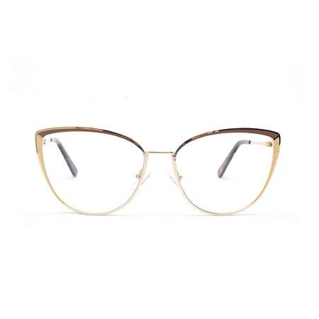 Armação para Óculos de Grau Gatinho Bicolor Metal Marrom e Bege
