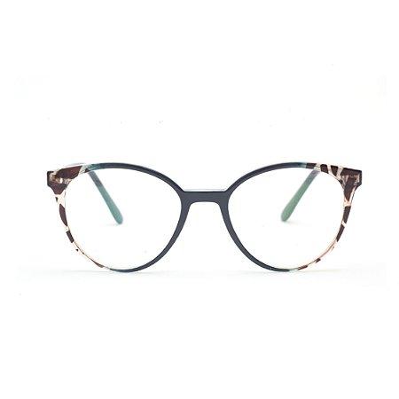 Armação para Óculos de Grau Feminino Azul e Tartaruga
