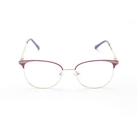 Armação para Óculos de Grau Feminino Redondo Vermelho e Dourado