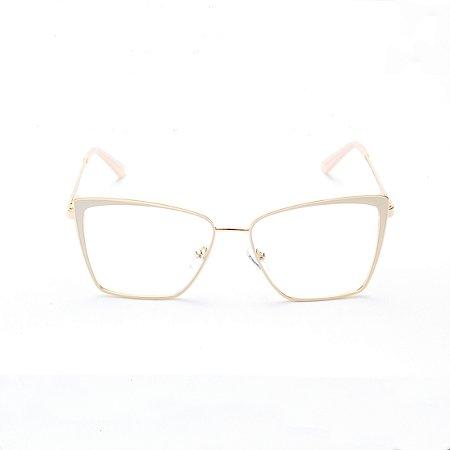 Armação para Óculos de Grau Quadrada em Metal
