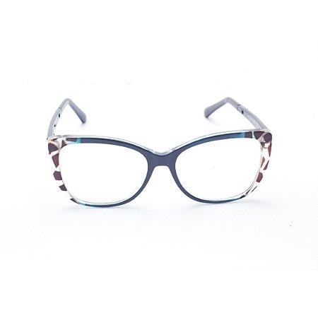 Armação para Óculos de Grau Feminino Oval Azul Estampado