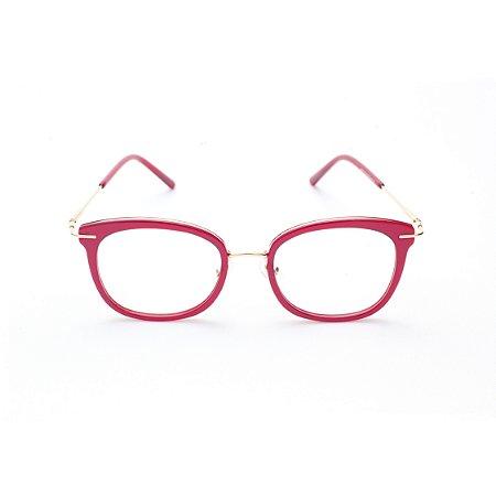Armação para Óculos de Grau Feminino Gatinho Oval Vermelho Vibrante
