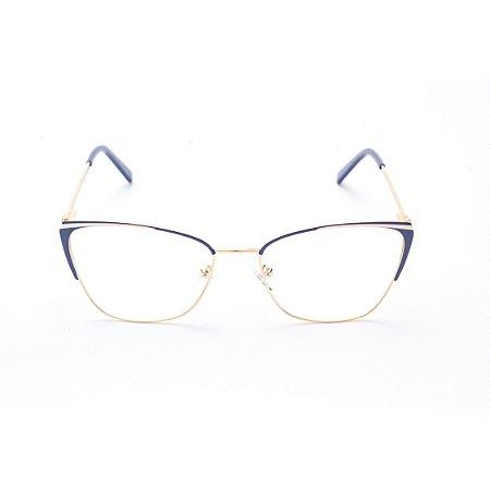 Armação para Óculos de Grau Feminino Gatinho Dourado com Azul