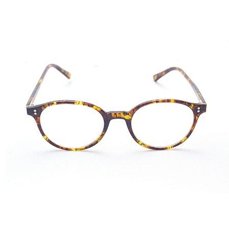 Armação para Óculos de Grau Redondo Acetato Unissex Tartaruga