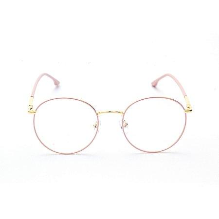 Armação para Óculos de Grau Feminino Redondo Rosa com Dourado