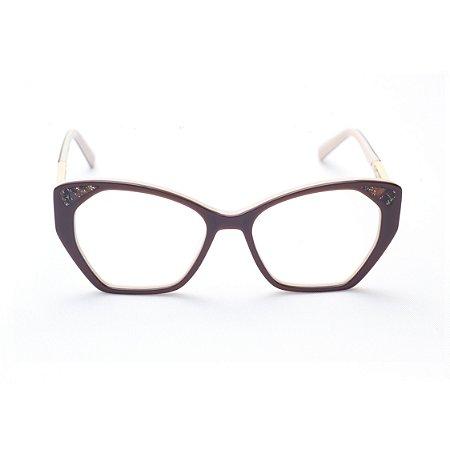 Armação para Óculos de Grau Feminino Acetato Gatinho Marrom com Creme