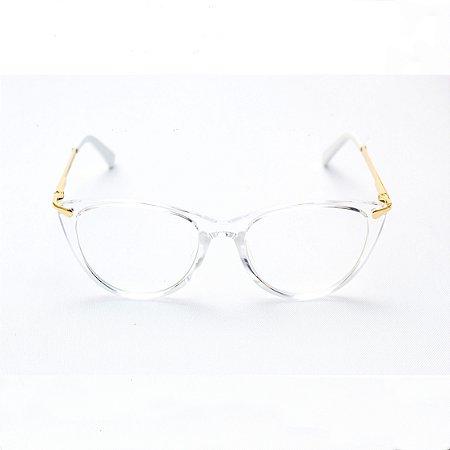 Armação para Óculos de Grau Infantil Feminino Gatinho Transparente