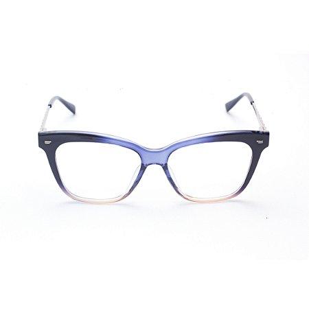 Armação para Óculos de Grau Feminino Retangular Gatinho Degradê em Cores