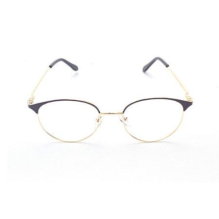 Armação para Óculos de Grau Feminino Metal Oval Marrom com Dourado