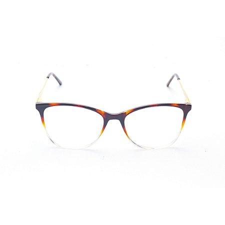 Armação para Óculos de Grau Feminino Oval Gatinho Tartaruga com Transparente