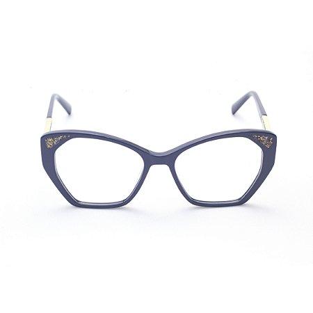 Armação para Óculos de Grau Feminino Acetato Gatinho Azul Petróleo