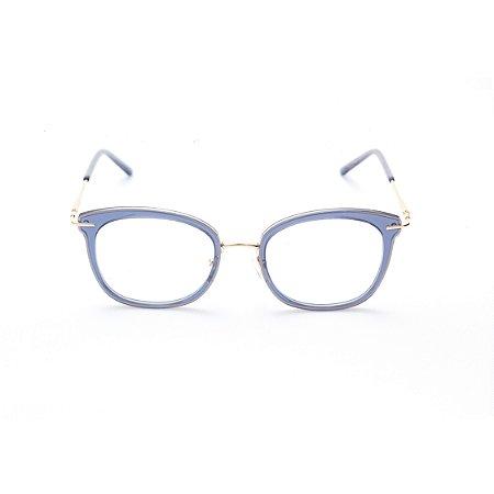 Armação para Óculos de Grau Feminino Oval Gatinho Azul Porcelana