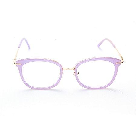 Armação para Óculos de Grau Feminino Ovalado Gatinho Lavanda