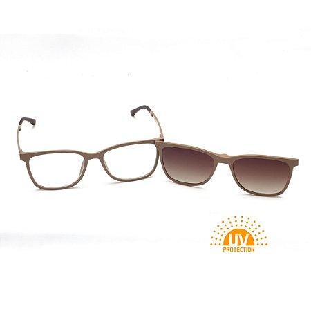 Armação para Óculos de Grau Clip-on Feminino Acetato Nude