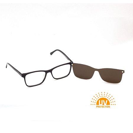 Armação para Óculos de Grau Clip-on Masculino Acetato Marrom