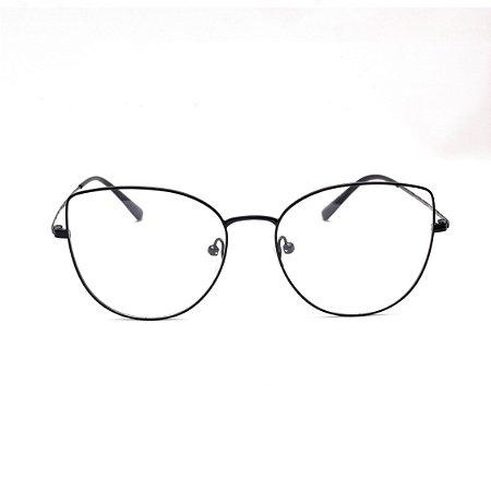 Armação para Óculos de Grau Clip-on Feminino Metal Preto Gatinho Oval