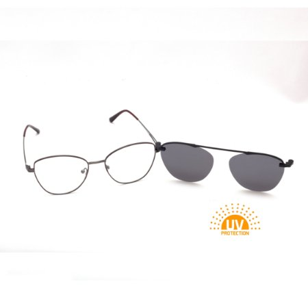 Armação para Óculos de Grau Clip-on Feminino Metal Marrom com Grafite