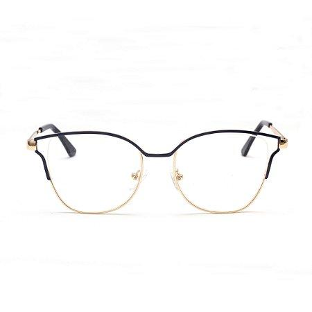 Armação para Óculos de Grau Gatinho Metal Azul Sandy
