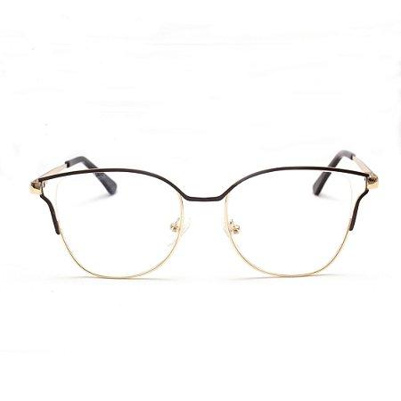 Armação para Óculos de Grau Gatinho Metal Marrom Sandy