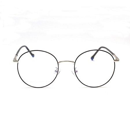 Armação para Óculos de Grau Redondo Metal Preto com Prata