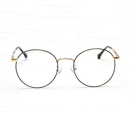 Armação para Óculos de Grau Redondo Metal Preto com Dourado