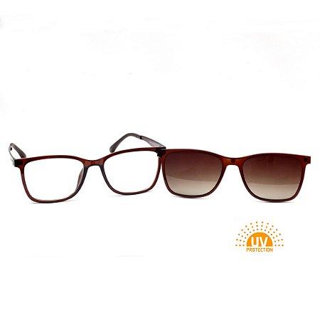 Armação para Óculos de Grau Clip-on Feminino Acetato Marrom Brilhante