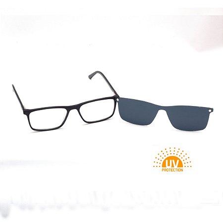 Armação para Óculos de Grau Clip-on Masculino Acetato Preto Pequeno